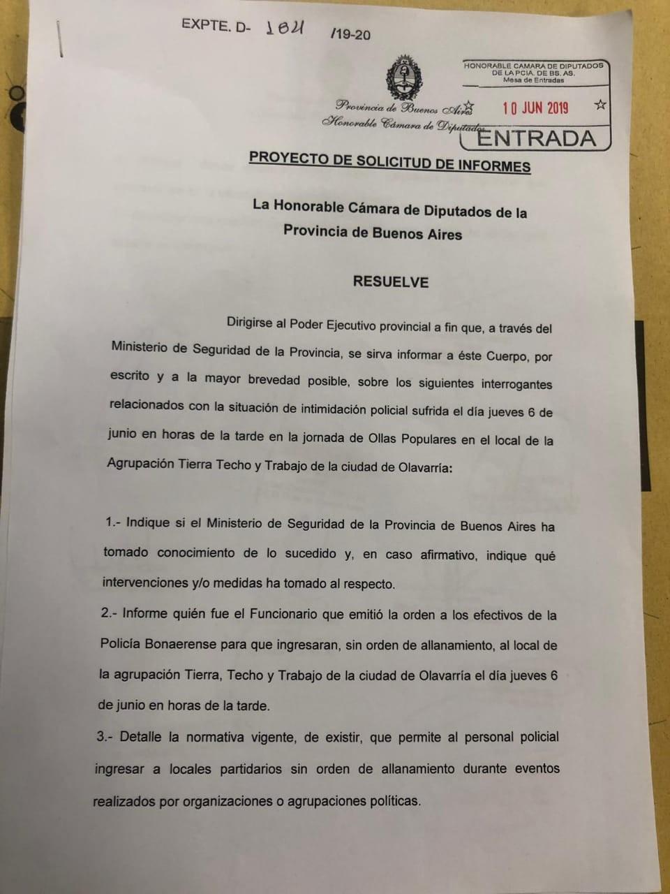 Piden explicaciones por el accionar policial durante la Olla Popular del jueves en Olavarría