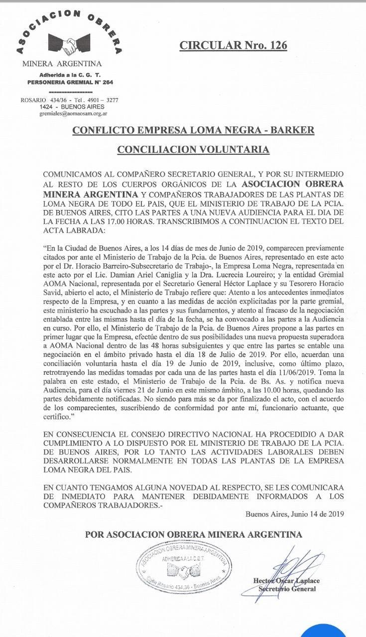 AOMA y Loma Negra en conciliación voluntaria