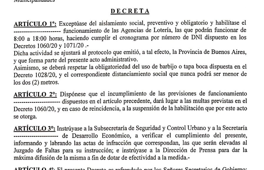La Municipalidad habilitó las Agencias de Quinielas
