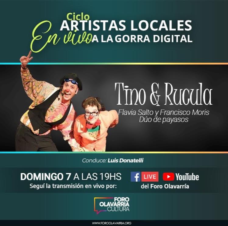 """Domingo: """"Artistas locales a la Gorra Digital"""" para chiques con los payasos Tino & Rúcula"""