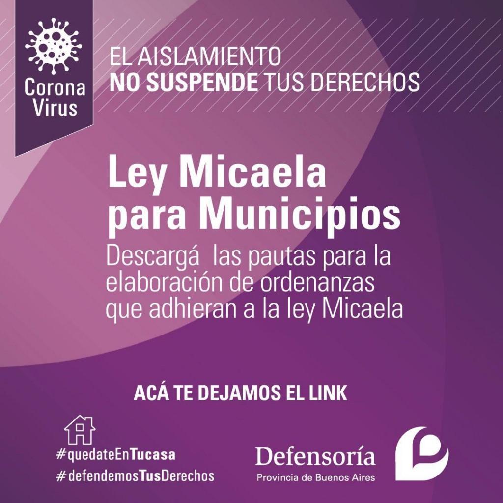 La Defensoría envió a los municipios pautas para que se adhieran a la Ley Micaela