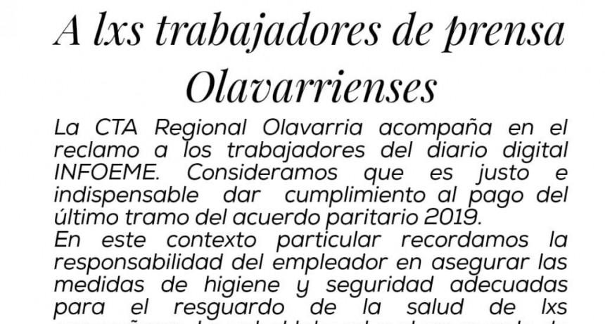 La CTA Olavarría manifestó adhesión a los reclamos