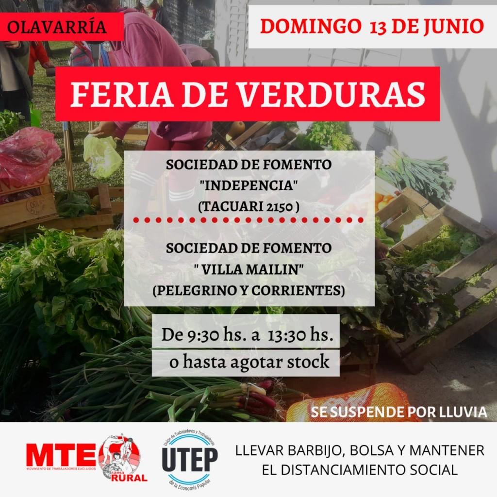 MTE Rural: Feria de verduras este domingo y venta de bolsones en la semana