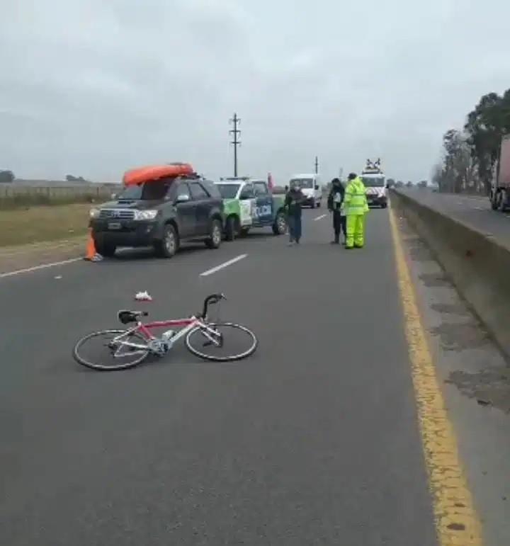Conocido ciclista sufrió un accidente en la ruta