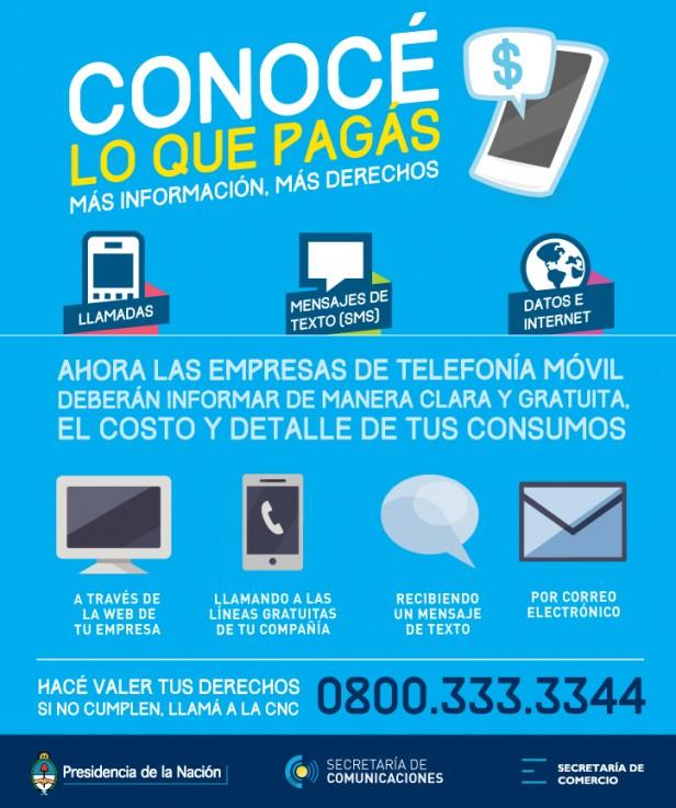 Las empresas de telefonía deben informar costos y consumos a usuarios
