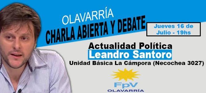 Leandro Santoro brindará una charla abierta