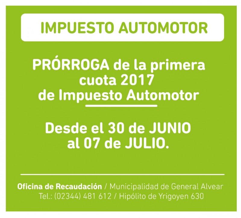 Prórroga vencimiento 1º cuota Impuesto Automotor