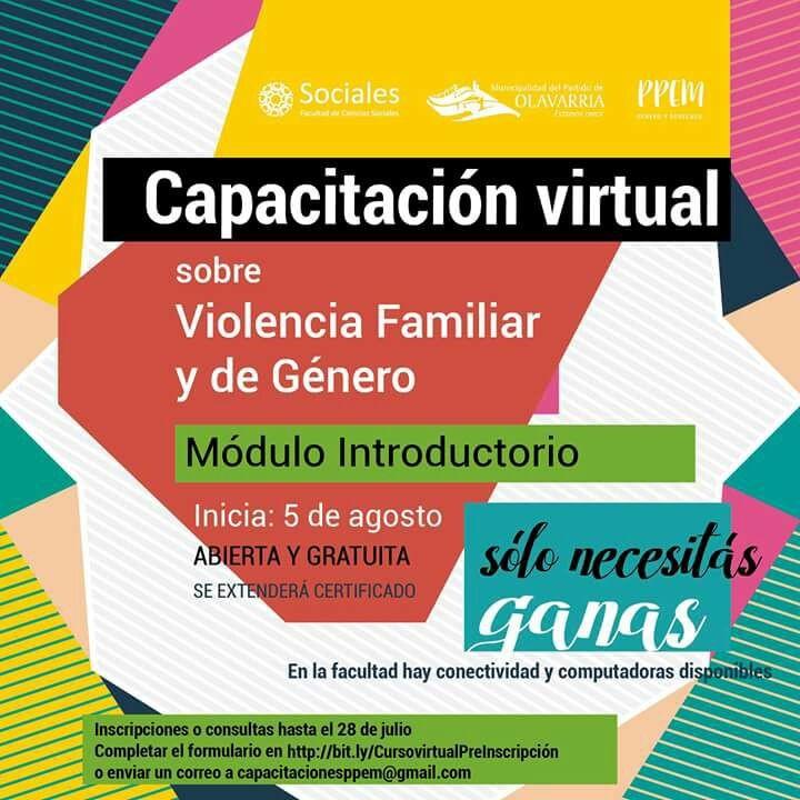 Finaliza la inscripción para la Capacitación sobre Violencia Familiar y de Género