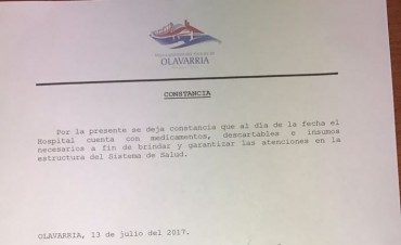 Desde el Municipio emitieron un comunicado informando que no faltan insumos