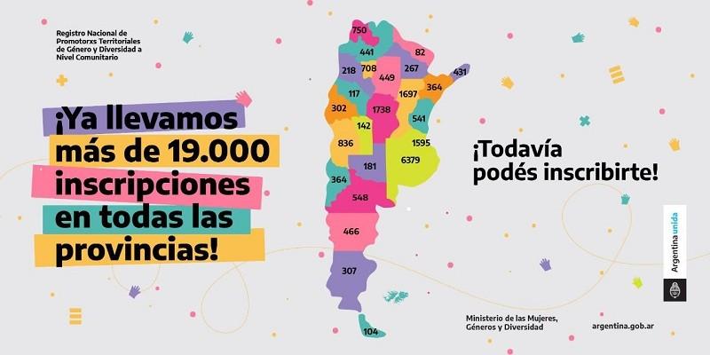 El registro de promotoras y promotores comunitarios de género y diversidad ya superó las 19 mil inscripciones en todo el país