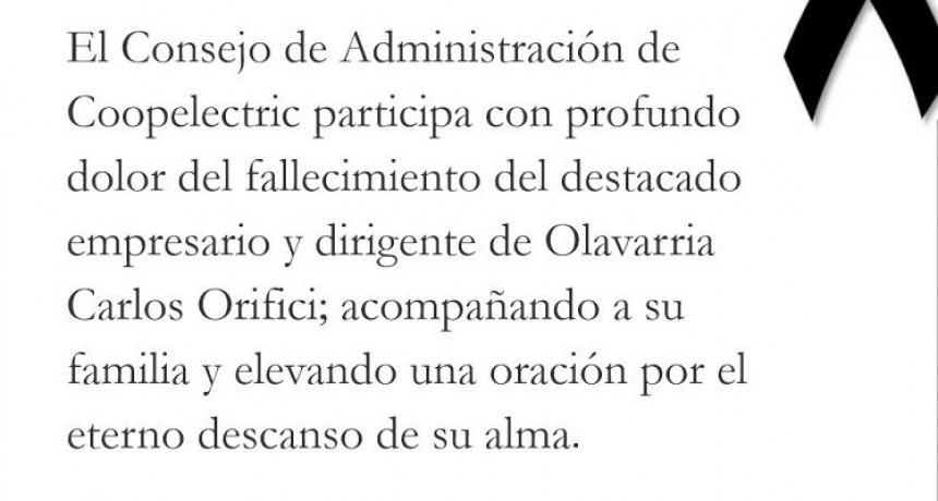 Condolencias por la muerte de Carlos Orifici