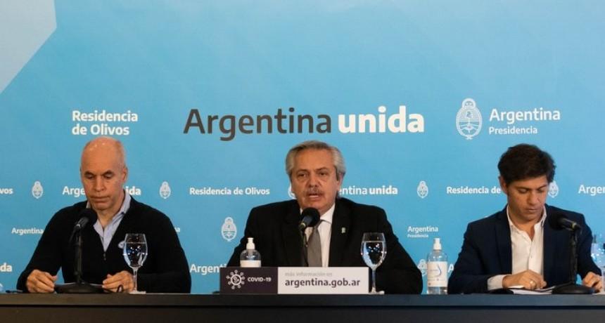 Alberto Fernández, Axel Kicillof y Horacio Rodríguez Larreta acordaron mantener la cuarentena sin cambios durante quince días más