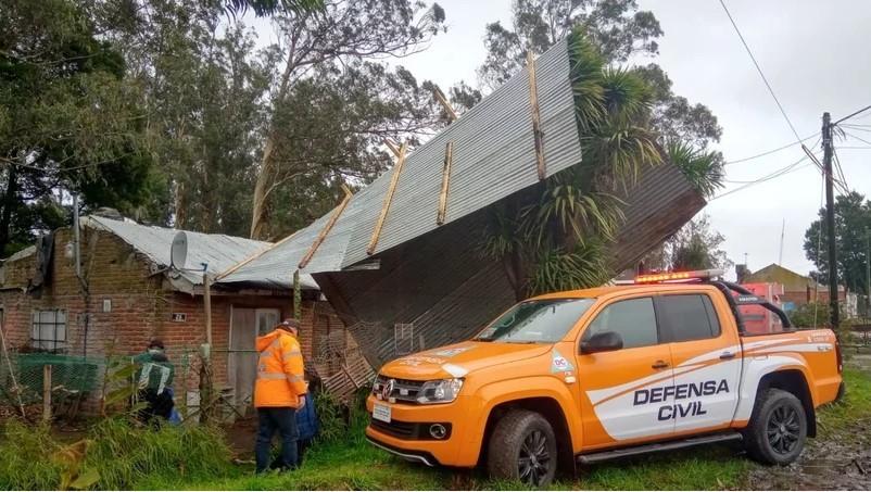 Caídas de árboles y voladuras de techos por el temporal en Mar del Plata