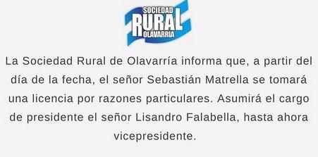 Sebastián Matrella con licencia en la Sociedad Rural porque será precandidato