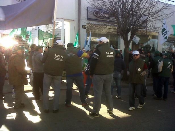 Protesta del SMATA en Olavarría