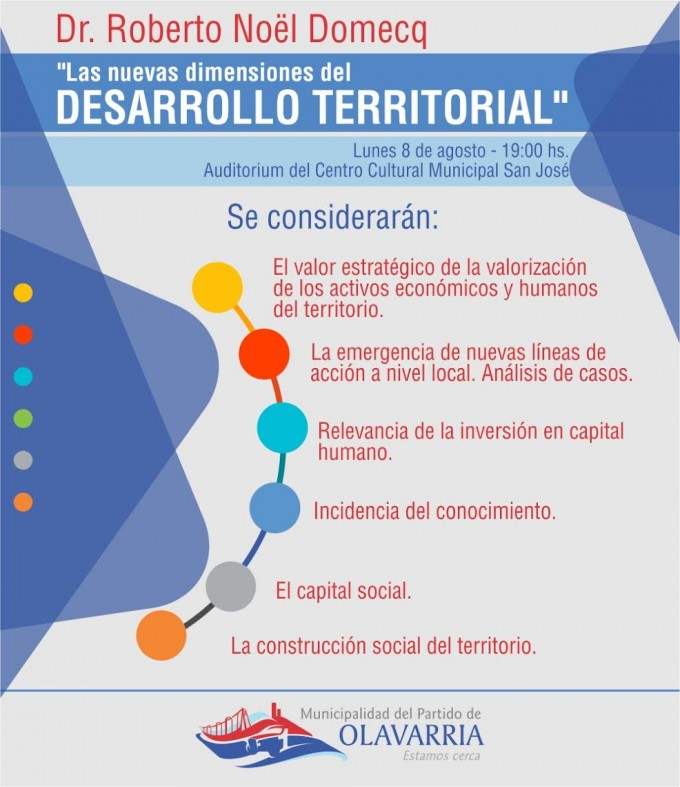 """Roberto Domecq disertará sobre """"Las nuevas dimensiones del desarrollo territorial"""""""