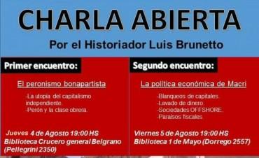 El historiador Luis Brunetto dará dos charlas en Olavarría