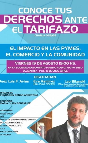 Disertación del Juez Arias en Olavarría sobre el Tarifazo