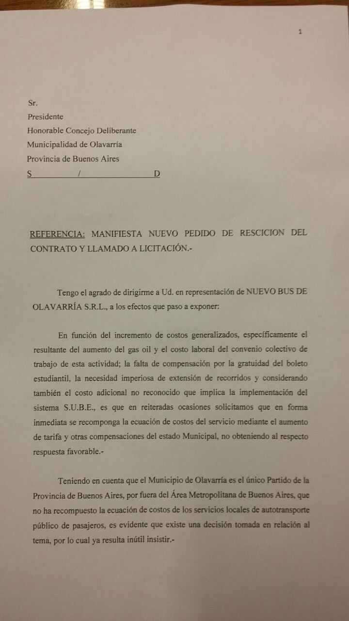 La empresa Nuevo Bus solicitó rescindir el contrato para que se llame a licitación el servicio