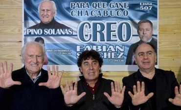 Pino Solanas y la plana mayor de CREO en Olavarría