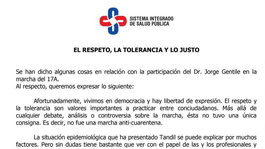 Polémica en Tandil por la participación de un infectólogo en la marcha del lunes