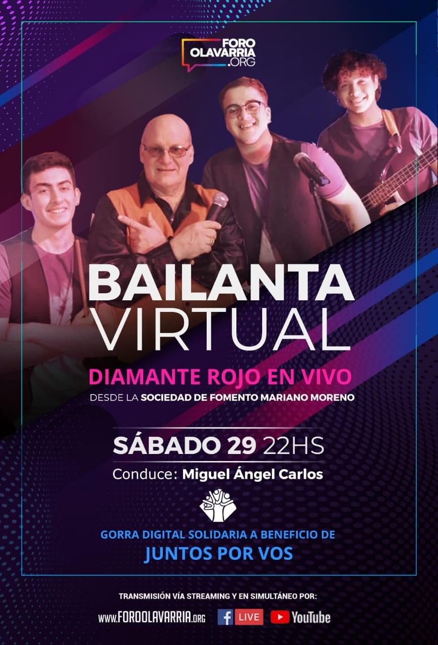 """Bailanta virtual de Diamante Rojo  a beneficio de """"Juntos por vos"""""""