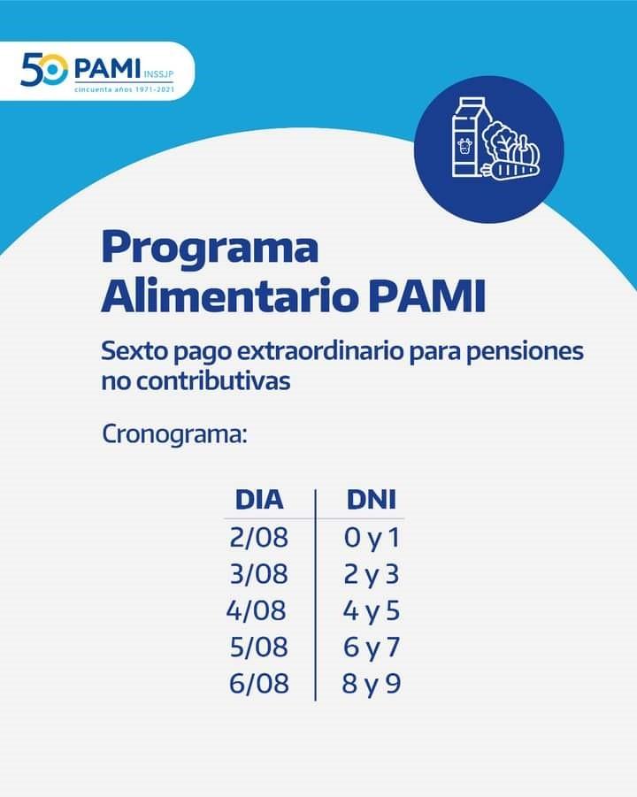 Sexto pago extraordinario del Programa Alimentario PAMI