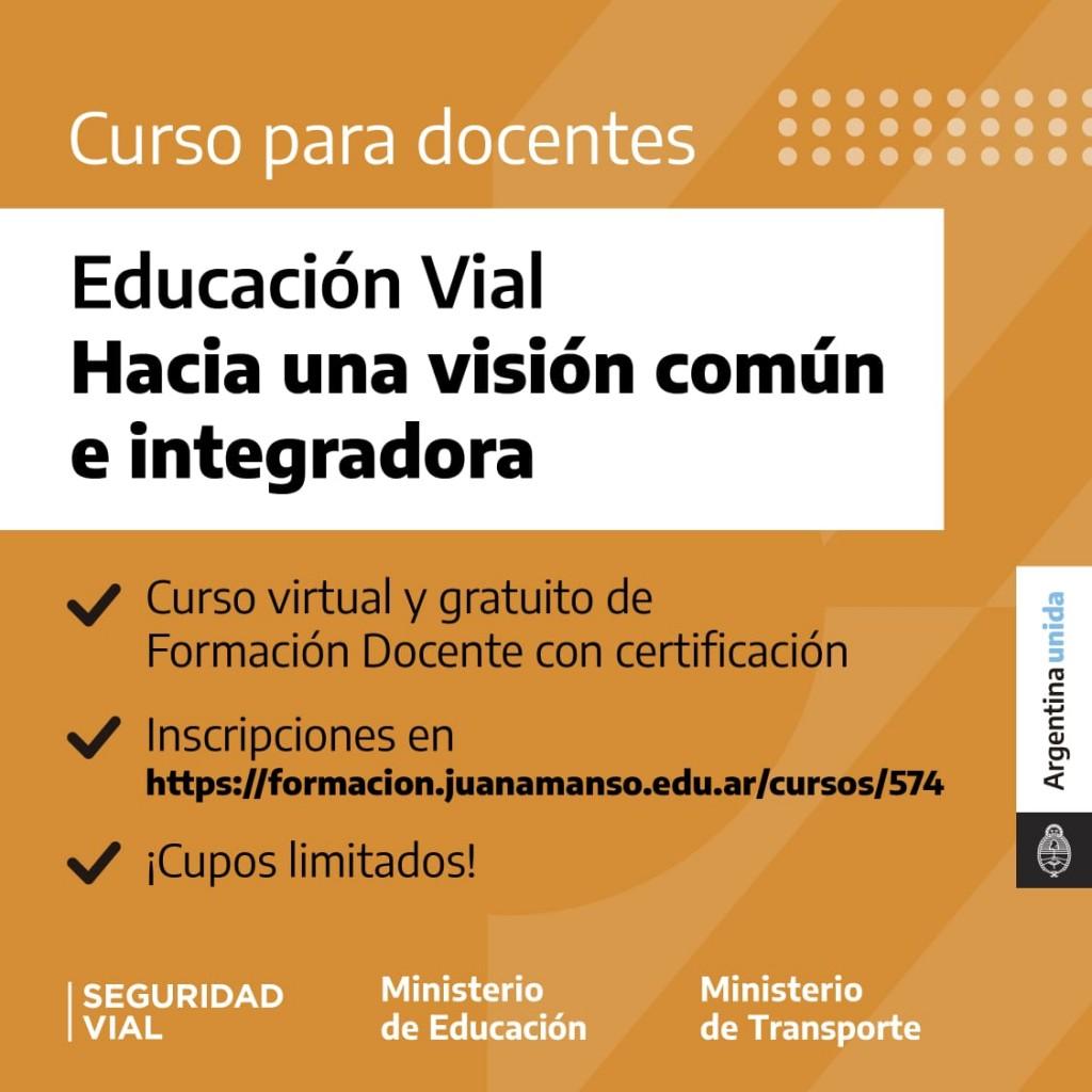 Se abrió la inscripción para la formación docente en educación Vial