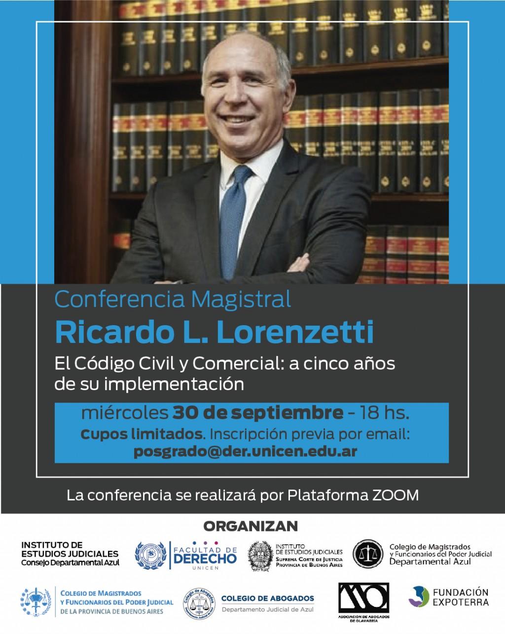 Derecho de Azul convoca a una Conferencia Magistral del Prof. Dr. Ricardo Lorenzetti