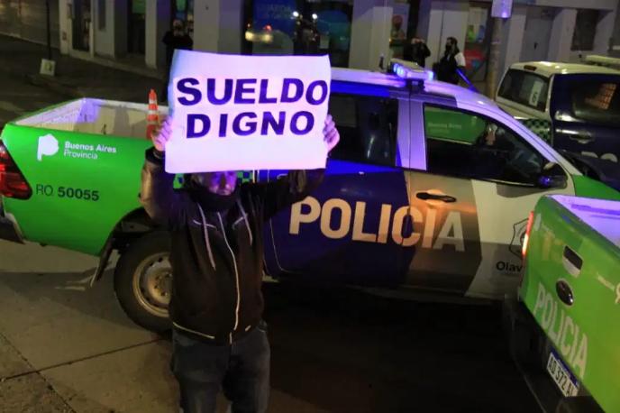 Por tercera noche consecutiva, hubo protesta de policías en Olavarría