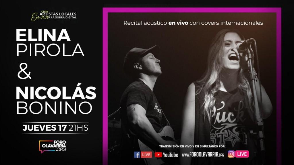 Elina Pirola y Nicolás Bonino, acústico del rock internacional en vivo a la gorra digital