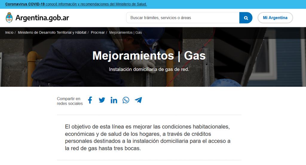 Financian la instalación interna y externa de gas natural