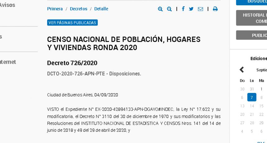 Oficializan postergación del Censo 2020 hasta que pase la pandemia