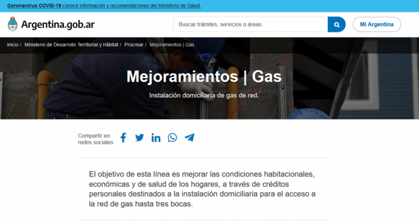 Financian la instalación interna y externa de gas natural
