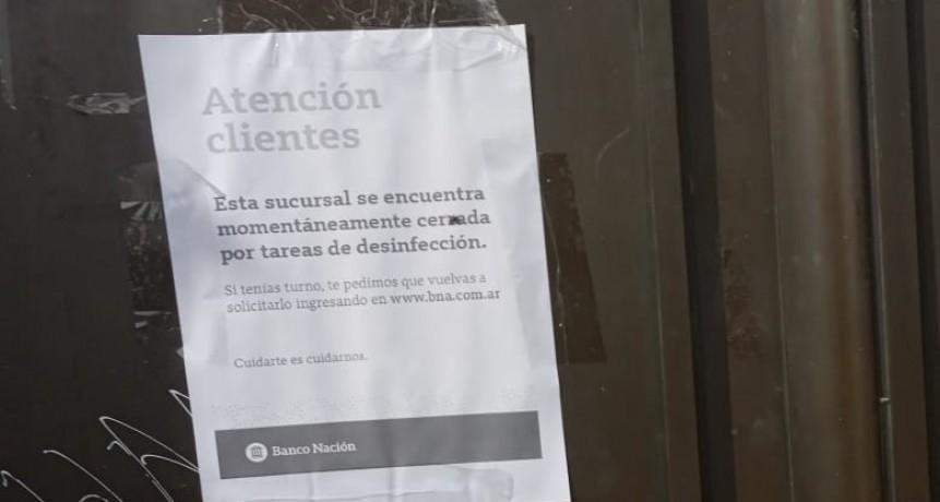 Banco Nación Centro, cerrado por desinfección