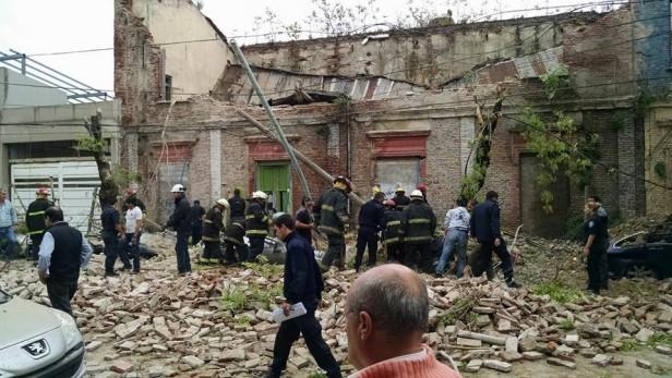 Derrumbe del primer piso del edificio Cereseto
