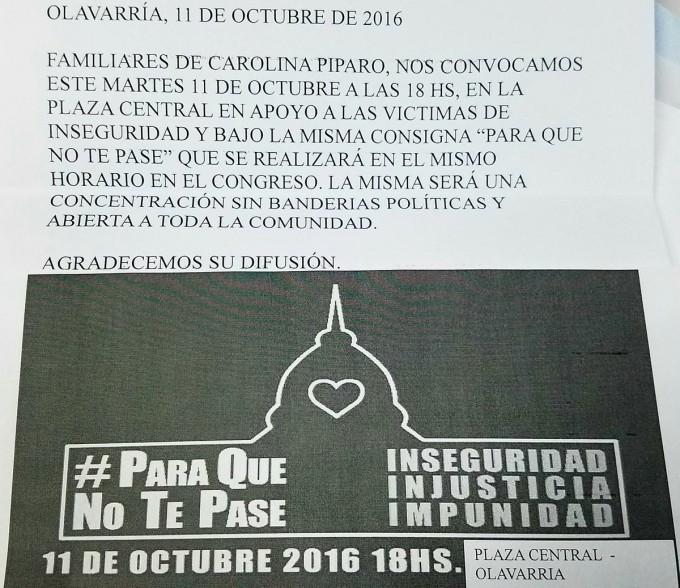 En Olavarría convocan también a #ParaQueNoTePase