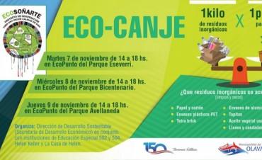 Eco – Canje: un kilo de residuos por un plantín