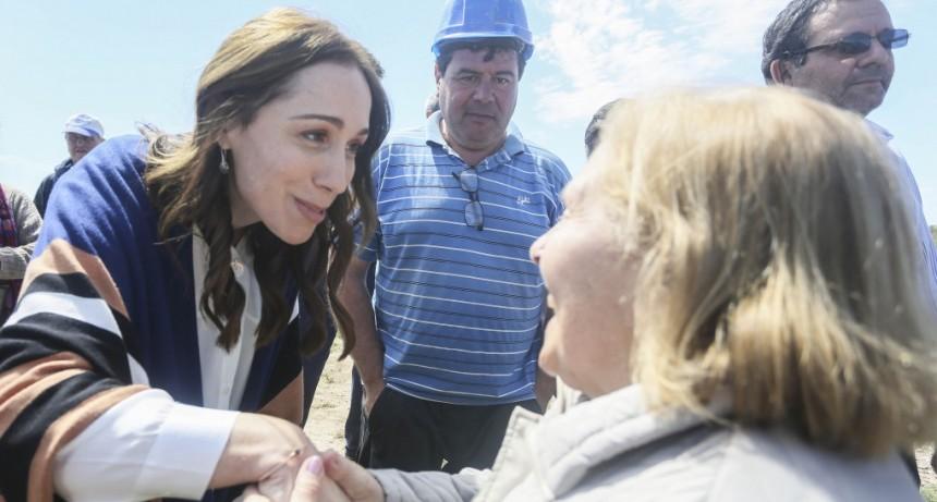 María Eugenia Vidal visitó una planta depuradora de residuos cloacales del partido de Carmen de Areco