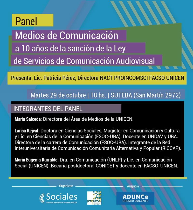 Panel: Medios de comunicación a 10 años de la sanción de la Ley de Servicios de Comunicación Audiovisual