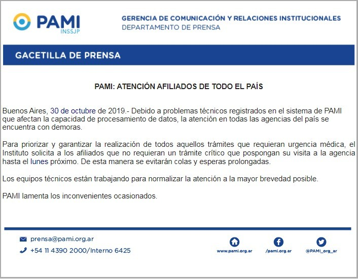 La Agencia PAMI priorizará los trámites críticos hasta el lunes