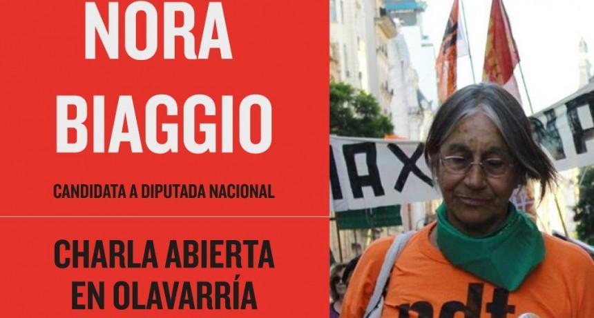 Nora Biaggio, candidata a diputada del FIT, en Olavarría