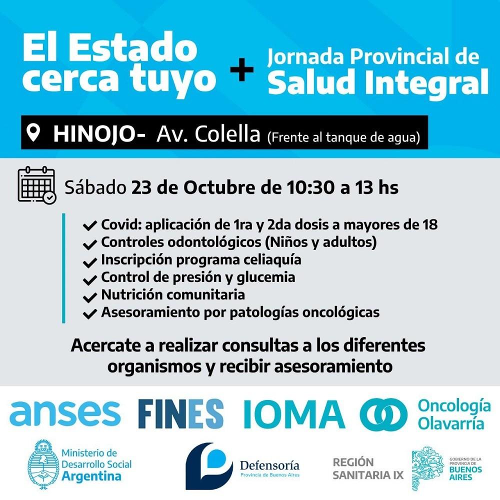 """Este sábado se realizará una nueva """"Jornada Provincial de Salud Integral"""" junto a """"El Estado Cerca de Tuyo"""" en Hinojo"""