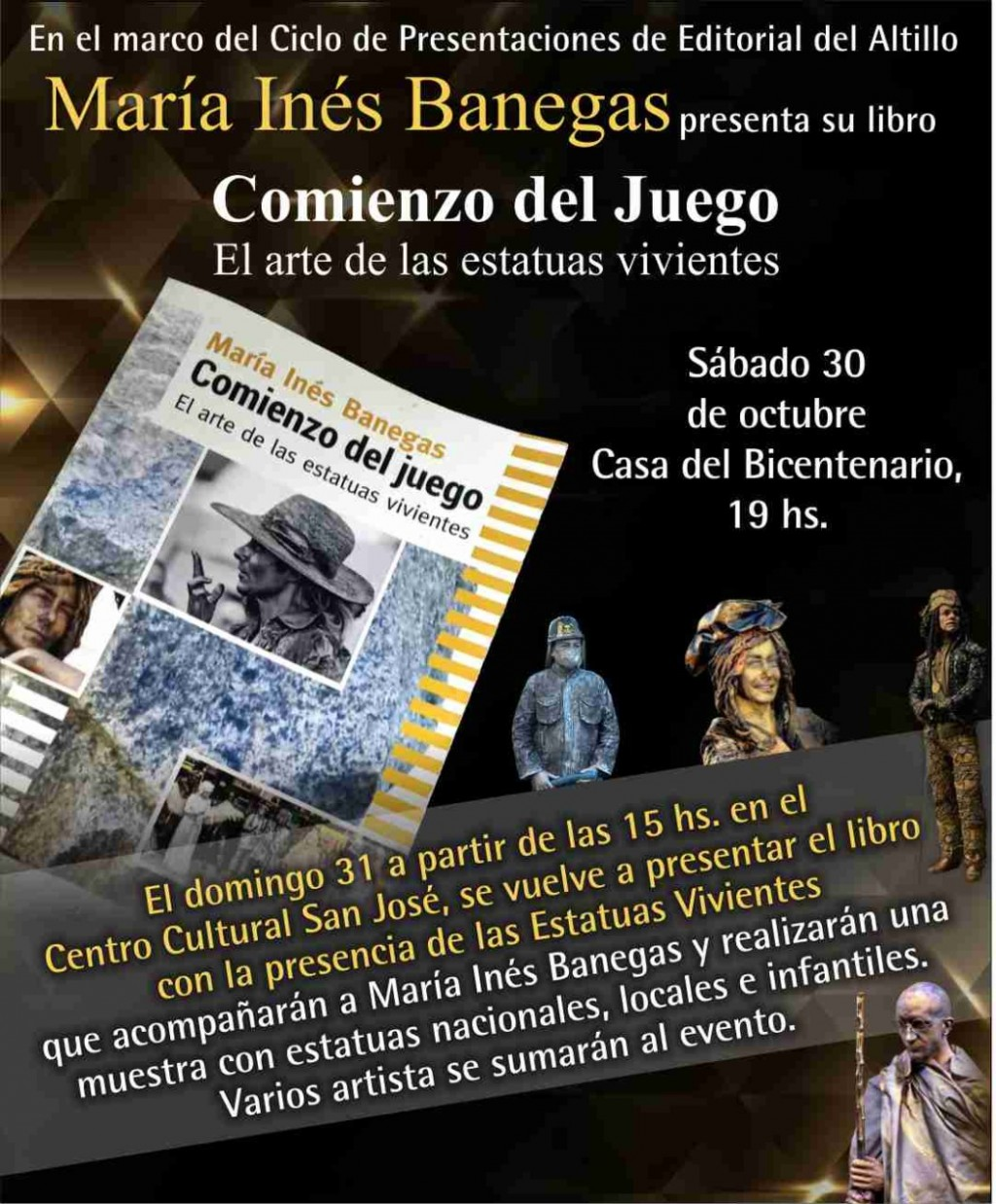 María Inés Banegas presenta su libro 'Comienzo del juego, el arte de las estatuas vivientes'