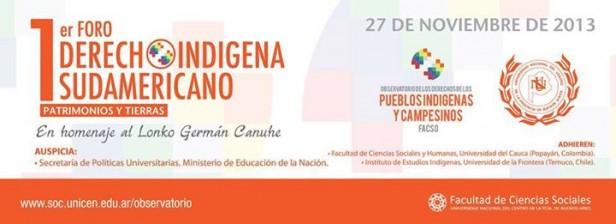 Foro sobre derecho indígena: con la presencia de investigadores y activistas se realizará el 27