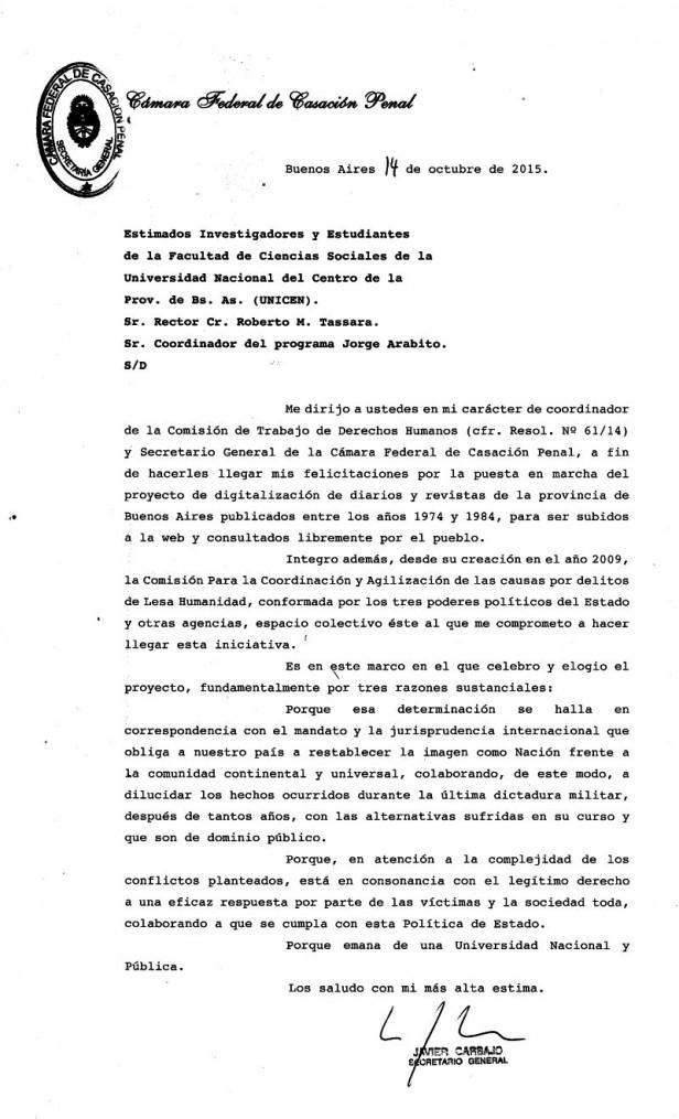 """La Cámara de Casación Penal destacó el proyecto """"Memoria Gráfica"""" de la FACSO"""