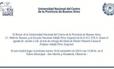 La UNICEN declara Dr. Honoris Causa a Pérez Esquivel