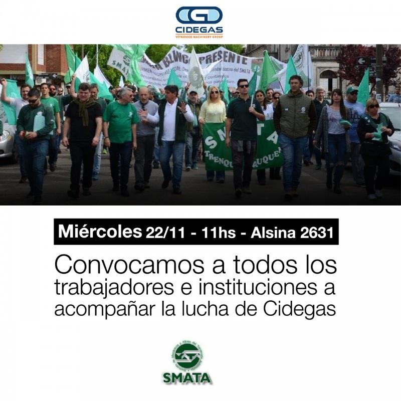 SMATA convoca a acompañar a los trabajadores de CIDEGAS