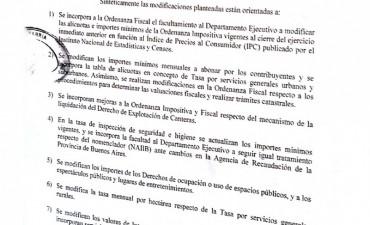 El intendente le pide al Concejo la facultad de aumentar las tasas según la inflación