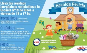 """Recalde Recicla"": disposición diferenciada de residuos para reutilizar"
